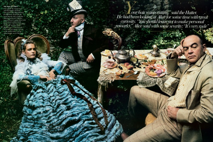 Stephen Jones (the Hatter) and Christian Lacroix (the March Hare)
