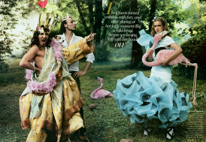 John Galliano (the Queen of Hearts) and Alexis Roche (the King)