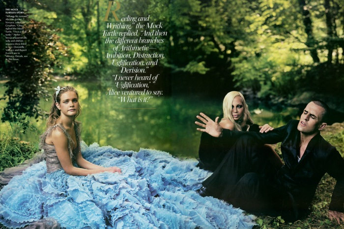 Donatella Versace and Rupert Everett (the Mock Turtle and the Gryphon)
