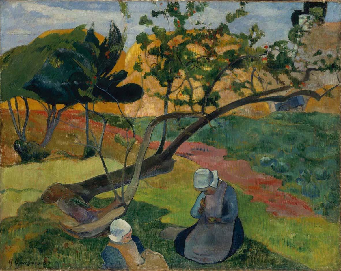 Paul gauguin - paesaggio con due donne bretoni