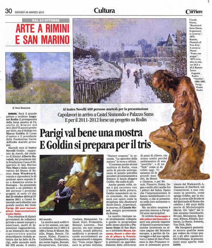 Articolo apparso su un quotidiano giovedì 25/03/2010