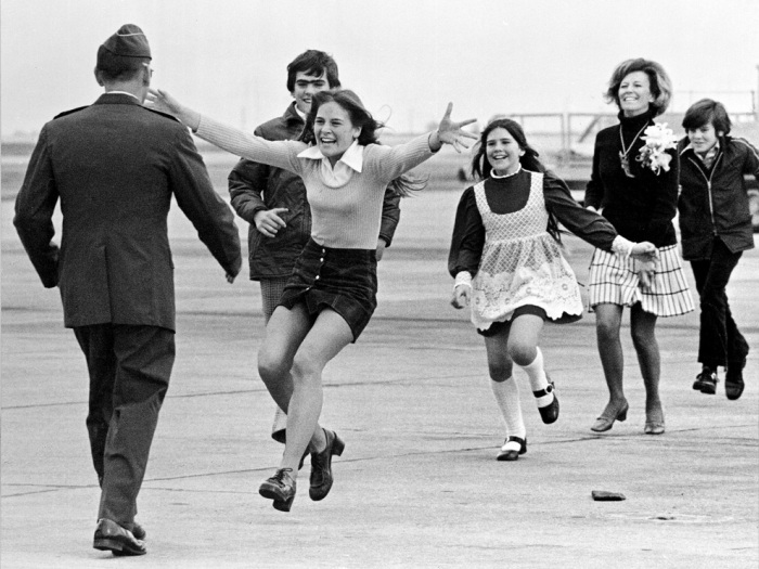 Released prisoner of war Lt. Col. Robert L. Stirm is greeted by his family at Travis Air Force Base in Fairfield, California on March 17, 1973, as he returns home from the Vietnam War. (AP Photo/Sal Veder)