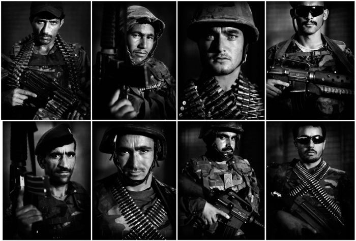 This combination photograph shows portraits of Afghan National Army soldiers following a patrol made on Sunday, July 11, 2010, at the United States Army's Combat Outpost Ware, in the volatile Arghandab Valley, near Kandahar City, southern Afghanistan. (AP Photo/Kevin Frayer)