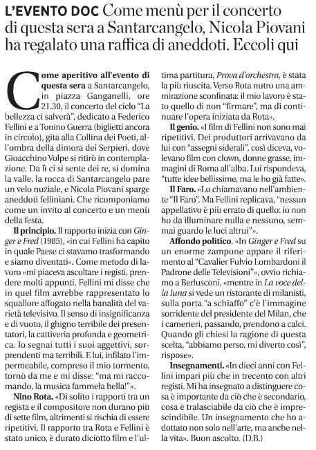 """Articolo tratto da """"La Voce di Romagna"""" del 27/07/2013"""
