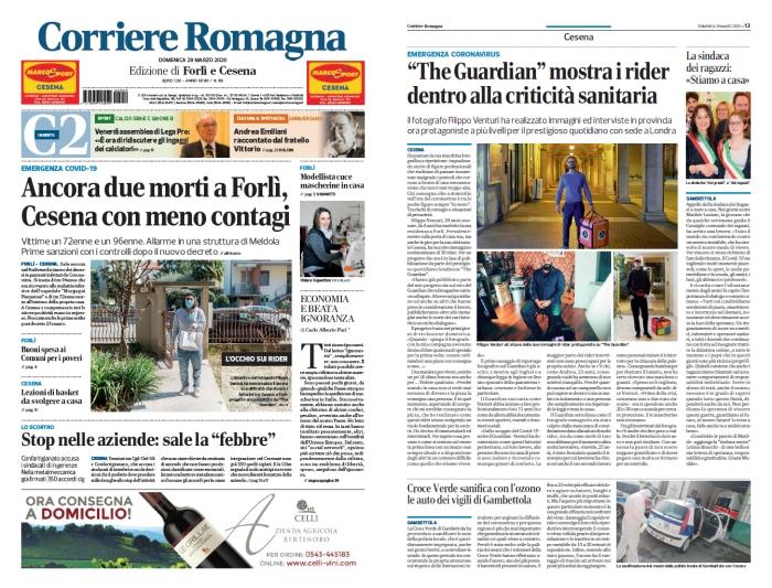 La prima pagina e l'articolo di approfondimento sul Corriere di Romagna