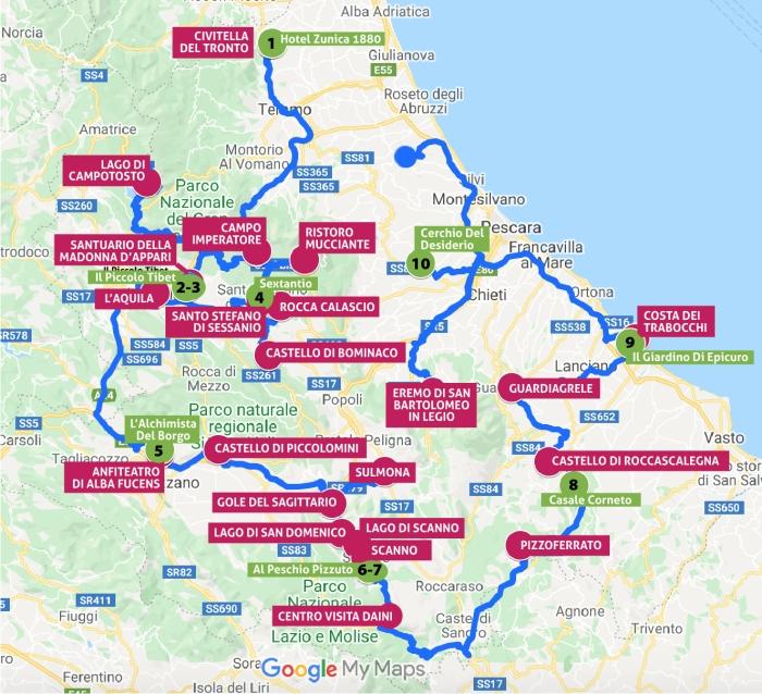 Viaggio in Abruzzo, Itinerario